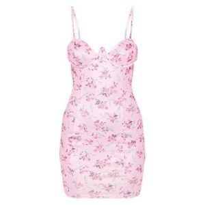 Pink Floral Wire Cup Detail Strappy Bodycon Dress